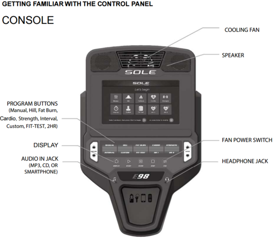 new sole e98 elliptical console