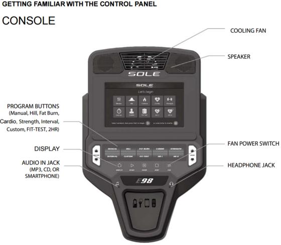 new sole e98 elliptical console