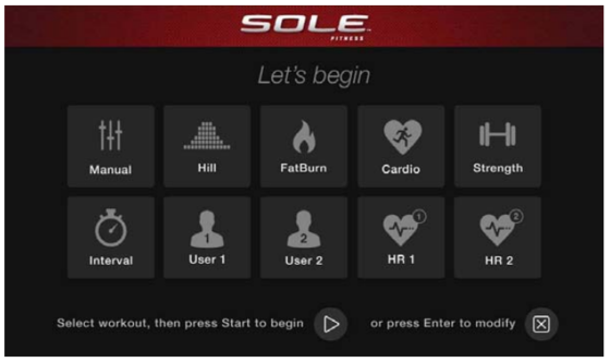 sole e95 elliptical main workout home page 3