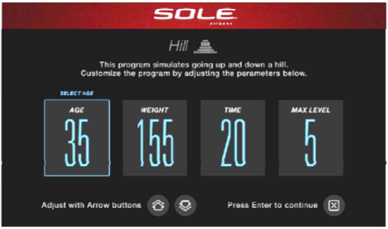 sole e98 elliptical settings screen