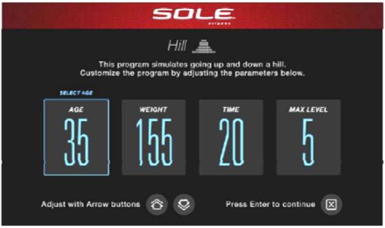 sole e98 elliptical settings screen