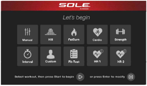 sole e98 elliptical start screen